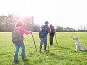 Three children walking outdoors by dog