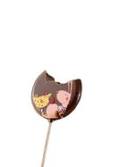 Chocolate lollipop with bite missing