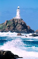 United Kingdom, Channel Islands, Jersey island, La Corbière lighthouse at high tide