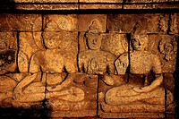 Indonesia, Java, a low relief of Borobudur temple