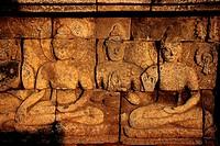 Indonesia, Java, a low relief of Borobudur temple
