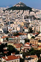 Greece, Athens, mount Lycabettus (the hill of wolves) stands in the middle of the city in Kolonaki district