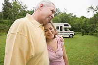 Mature couple on a caravan vacation