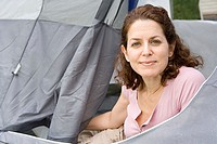 Mature woman camping