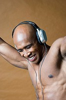 Joyful man wearing headphones
