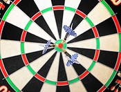 Darts on a dartsboard