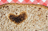 Heart shape burnt on toast