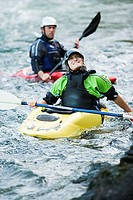 Two male kayakers