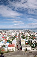 Iceland, Reykjavik, city view, elevated view