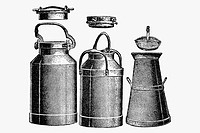 Milk cans. Antique drawing, ca. 1900.