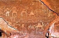 asia, jordan, wadi rum, stone engravings