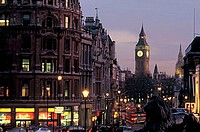 great britain, england, london, big ben and whitehall seen from trafalgar square