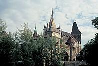 hungary, budapest, view of vajdahunyad castle