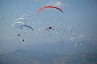 flying, paraglider, sports, Paragliding, group, several, Greece, Europe, Kalavrita, smoke, fog, air, scenery, landscap