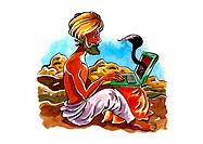 Indian snake-charmer with a turban on his laptop