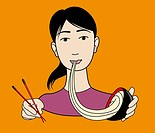 Asian woman eating a bowl of noodles