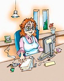 Woman at work at home office