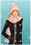 Young woman in snow with hat and scarf