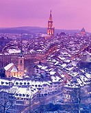 10377537, Switzerland, Europe, town, city, Bern, Switzerland, Europe, winter, Old Town, overview, dusk, twilight, snow, roofs,