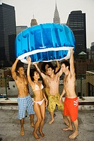 Group of Friends on Rooftop with Inflatable Pool