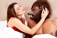 Man Wearing Werewolf Mask to Bed