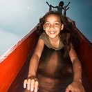 Girl Sliding Down Slide