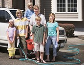 Family Preparing to Wash SUV