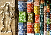 Sculpted and painted pillars around the sacred tank inside the Viadanatheeswar temple in Viatheeswarankoil , small town 24 km south of Chidambaram.  T...