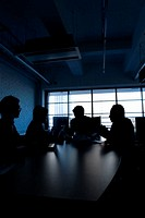 Silhouette of people having business meeting, Front View, Side View