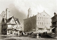 Faneuil Hall Boston Massachusetts USA From a 19th century print engraved by H Griffiths after W H Bartlett