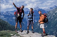 Father and sons  Ticino Mountains  Switzerland