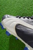 Close-up of a soccer shoe