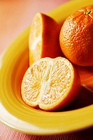High angle view of the cross section of oranges