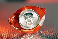 Close-up of a crushed can