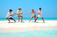 Group of people playing tug of war on beach
