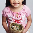 High angle view of a girl holding eggs in a bird's nest