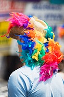 Rear view of a man wearing colorful feather on a sunhat