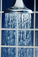 Water flowing out of a shower head
