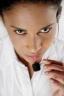 Portrait of a female customer service representative talking on a headset