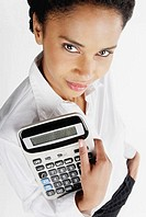 Portrait of a businesswoman holding a calculator