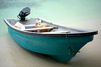 Close-up of a motorboat on the beach