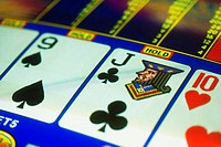 Close-up of playing cards on a slot machine, Las Vegas, Nevada, USA