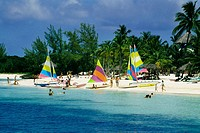 Colorful yachts seen on a seashore, Treasure Island, Abaco, Bahamas