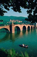 Arch bridge across a river, Neckar River, Heidelberg Castle, Heidelberg, Germany