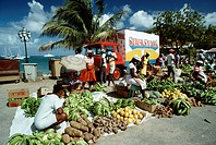 People putting up their commodities for sale, St. Martin