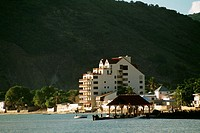 View of hotel on beach on the island of St. Maarten