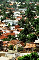 Aerial view of a residential area on a sunny day, Trinidad