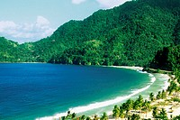 Aerial view of a scenic beach on a sunny day, Trinidad