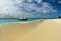 Side view of a boat along a beach, Buck Island, St. Croix, Virgin Islands