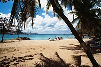 Tourists are relaxing on an exotic beach, The Grenadines